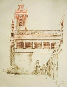 PI - Prova de Impressão, Arte em Gravura Original, Assinada, Igreja Colonial