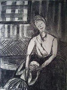 Elizabeth Kauffmann - Quadro, Arte em Gravura Assinada, Maternidade Feliz