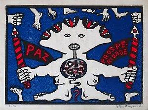 """Antonio Henrique do Amaral - Arte em Gravura, Xilogravura """"Paz & Prosperidade"""""""