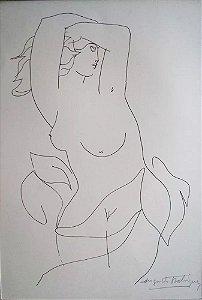 Augusto Rodrigues - Arte em Gravura Assinada, Contorno Feminino
