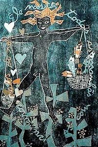 Zorávia Bettiol - Arte em Gravura, Xilogravura Original da Série Namorados