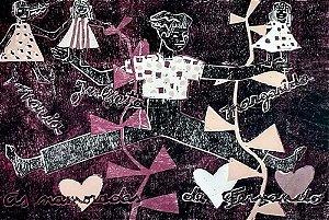 Zorávia Bettiol - Arte em Gravura, Xilogravura Original da Série Namorados, As Namoradas de Fernando