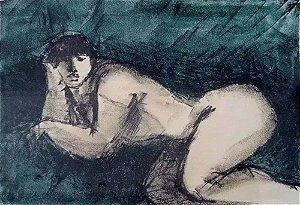 Augusto Rodrigues - Quadro, Arte em Gravura Assinada, Figurativo Feminino, Mulher Nua