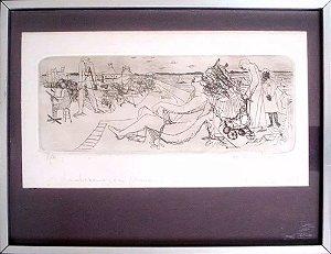 Ferenc Kiss - Quadro, Arte em Gravura Original, Prova de Artista, Assinada, Emoldurada