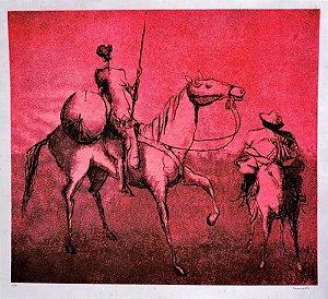 Romanelli -  Arte em Gravura, Litografia Assinada, Dom Quixote e Sancho Pança