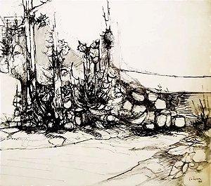Lilian Goulart - Quadro, Pintura em Nanquim, Assinado, de 1965