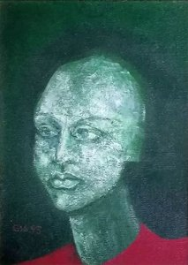 Quadro - Assinado Gia, de 1995, Rosto, Figurativo