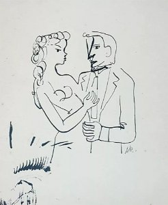 Augusto Rodrigues - Quadro, Arte em Desenho a Nanquim, Casal Elegante