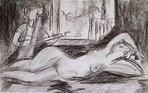 Obra Atribuída a Robert Calix  - Quadro, Arte em Desenho à Lápis, Nu Feminino