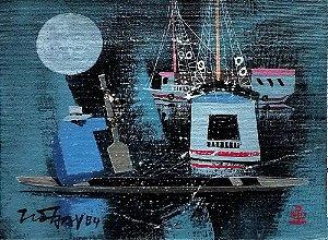 Tio Hok Tjay - Arte em Pintura, Óleo sobre Tela, Assinada, de 1984