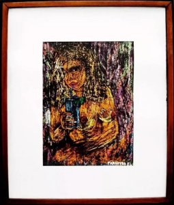 Parahyba - Quadro, Arte em Desenho, Crayon sobre Cartão, Assinado, de 1986