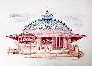 Vitorio Gheno - Arte em Gravura, Litografia Assinada Prova de Artista, Mercado De Manaus, Amazonas