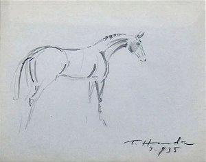 Tomoo Handa -  Arte em Desenho Original, Assinado, Cavalo