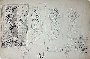 Augusto Rodrigues - Quadro, Arte em Desenho, Técnica Mista, Estudos Personagens Infantis