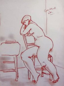 Tibor Gertler - Quadro, Arte em Desenho Original, Técnica Pastel, Nu Feminino