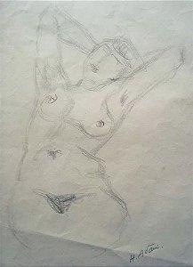 Hugo Adami - Arte em Desenho à Lápis, Assinado, Nu Feminino