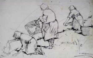 Edgar Oehlmeyer - Quadro, Arte em Desenho, Grafite, Assinado, de 1958