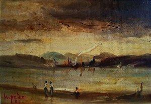 W. Nather - Quadro, Arte em Pintura Original, Óleo sobre Eucatex, de 1984