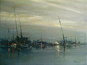 Penedo - Quadro, Arte em Pintura, Acrílico sobre Eucatex, Assinada, Abstrata Marinha