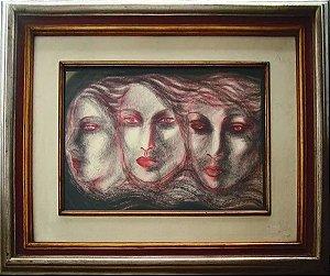 Yvete Ko - Quadro, Arte em Pintura, Técnica Mista, Assinada, Paris 1976