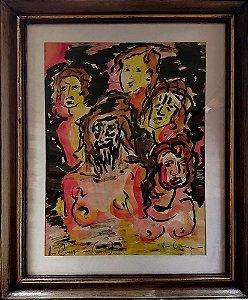 Quadro Decorativo - Arte em Pintura Aquarela, Assinada, Composição Figurativa
