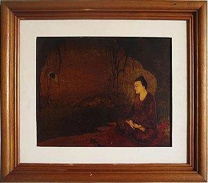 Quadro Decorativo - Arte em Pintura, Técnica Mista, Buda, Árvore da Iluminação