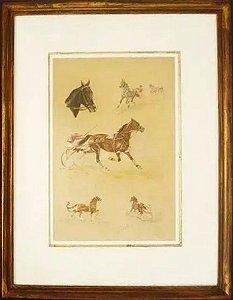 J. Rivet - Quadro, Arte em Gravura Iluminura Assinada, Cavalos, Emoldurada