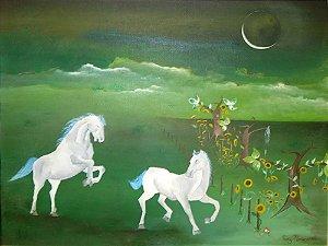 Luiz Nascimento - Quadro, Arte em Pintura Assinada, Óleo sobre Tela, Cavalos