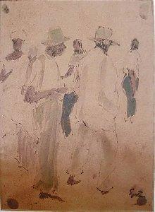 Gustav Epstein - Quadro, Arte em Pintura, Guache sobre Papel Castanho