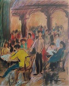 Quadro, Arte em Desenho, Técnica Mista, Assinado, de 1957, Cena de Bar