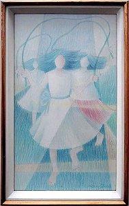 Jurandi Assis - Quadro, Arte em Desenho, Giz Pastel sobre Papel, Brincadeira Meninas com Cordas
