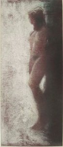 Ezio Monari - Quadro, Arte em Desenho Técnica Pastel, Figurativo Nú Feminino
