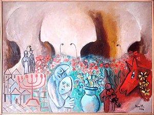 Ingres Speltri - Quadro, Arte em Pintura, Óleo s/ Tela, Tributo a Marc Chagall, de 1994