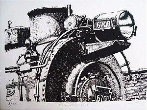 Glauco Pinto de Moraes - Quadro, Arte em Gravura, Litografia Assinada, Locomotiva 6700
