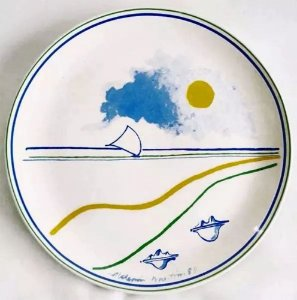 Aldemir Martins - Prato em Cerâmica Assinado, 35 Anos da Oxford, de 1989