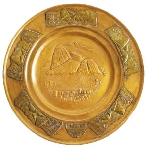 Antigo Prato Decorativo em Metal, Imagens do Rio de Janeiro, Pão de Açúcar em Relevo, Para Colecionador