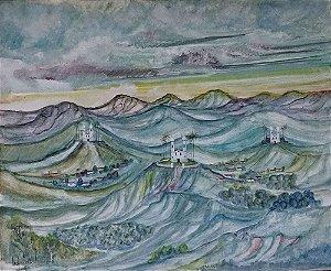Holmes Neves - Quadro, Arte em Pintura, Óleo S/ Tela, Assinada, Paisagem Mineira com Igrejas