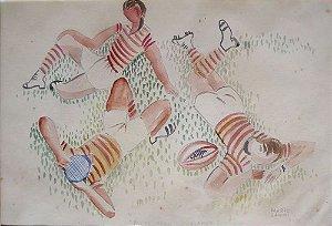 Mario Zanini - Quadro, Arte em Desenho Aquarelado, Assinado, Pausa para Descanso, de 1955