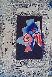 Ivan Serpa - Quadro, Arte em Desenho, Assinado, Mulheres com Bichos, de 1961