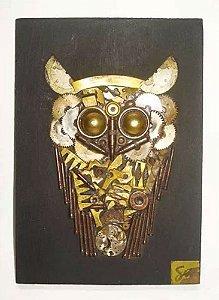 Shih Hwa - Quadro, Escultura em Madeira e Metais, Figura de Coruja
