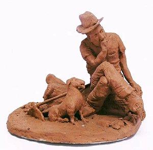 V H Cunha - Escultura em Barro, Assinada, Descanso