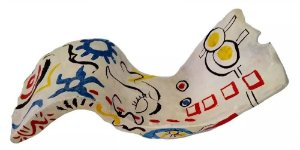 Anita Kaufmann - Escultura em Cerâmica, Assinada, Estilo Miró, Figurativo Feminino