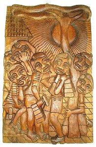 Belemin - Talha Escultura em Madeira com Forte Relevo, Os Engraxates, Assinada, 1975 - 50x31cm