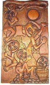 Belemin - Escultura em Madeira Entalhada, Pendurando Roupas, Assinada, 1975
