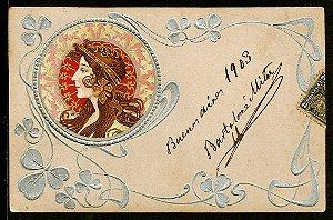 Cartão Postal Antigo Original, Ilustração Art Nouveau do Início do XX, Circulado em 1903