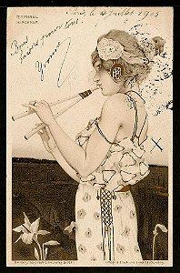 Raphael Kirchner - Cartão Postal Antigo Original, Ilustração Art Nouveau do Início do XX, Circulado 1905