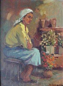 Menase Vaidergorn - Pintura Óleo S/ Eucatex Mulher e Vasos de Flores Assinada 53 x 44 cm
