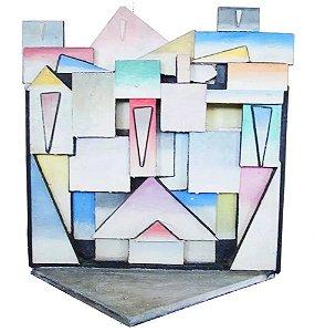 Ramon Cáceres - Escultura Geométrica em Madeira Sobreposta, com Certificado de Origem, Casario, Favela