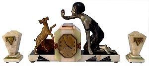 Antigo Garniture com Relógio Art Déco, Detalhes em Bronze e Montagem em Mármores Italianos