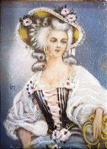 Antiga Pintura Miniatura Sobre Celuloide, Figura de Dama, Assinada